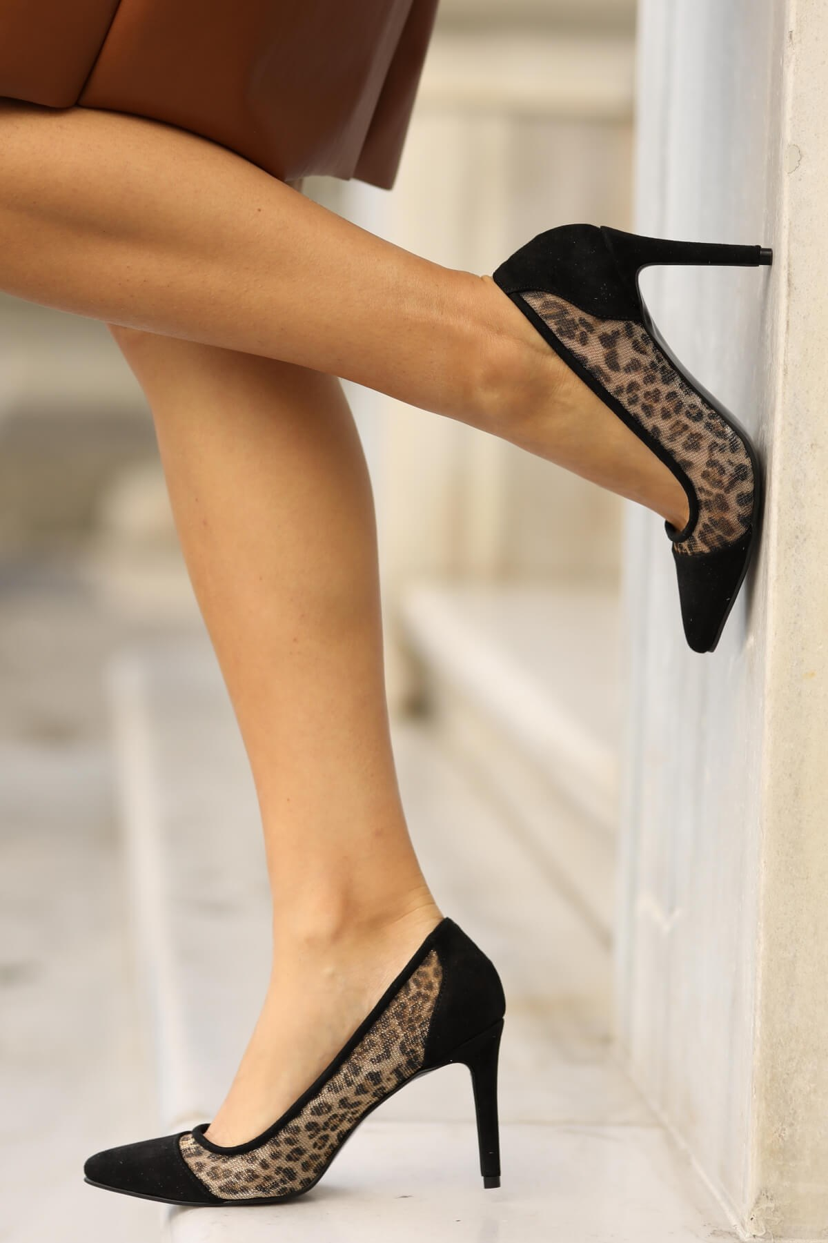 Basic Leopar Desen File Stiletto